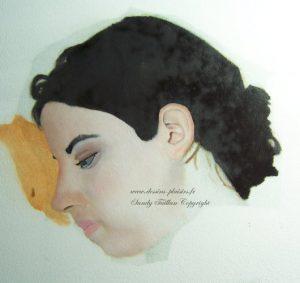 essai peinture du d'une femme de profil