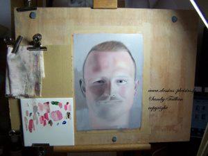 Photo de mon chevalet lors d'une étude d'un portrait