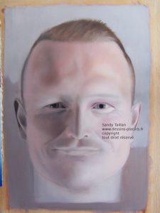 Portrait d'Adrian réalisé à la peinture à l'huile en cours