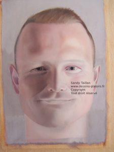 Peinture à l'huile en cours - portrait d'Adrian