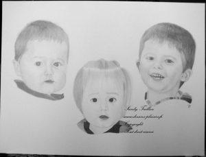 Dessin de trois enfants au crayon graphite