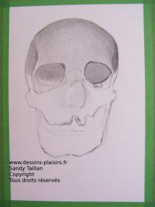 Phase 3 du pas à pas dessin du crâne