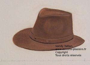 Peinture à l'huile de petit format représentant un chapeau