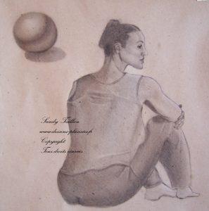 Etude au fusain d'une femme assise