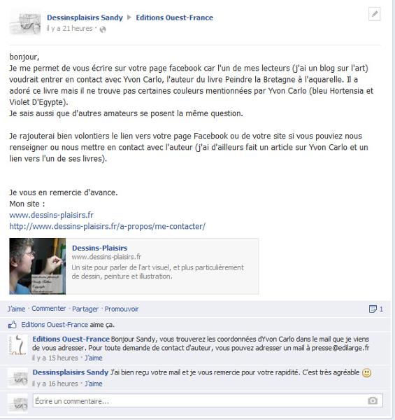 Dialogue écrit sur Facebook